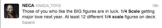 NECA 1-4 scale figures tweet