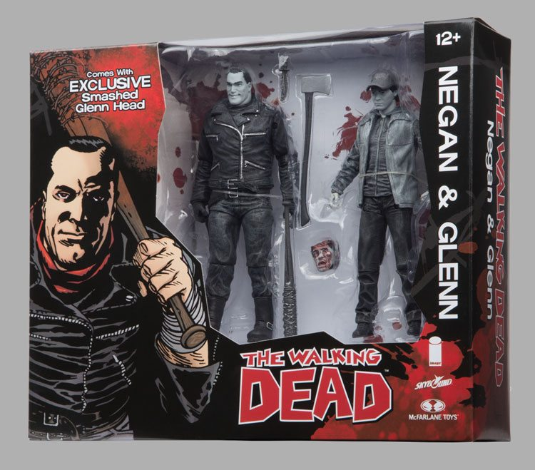 Skybound's SDCC 2106 exclusive Walking Dead Negan and Glen black and white action figures