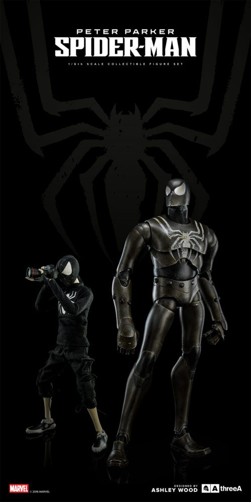 ThreeA Spider-Bot and Peter Parker action figures - Stealth Version