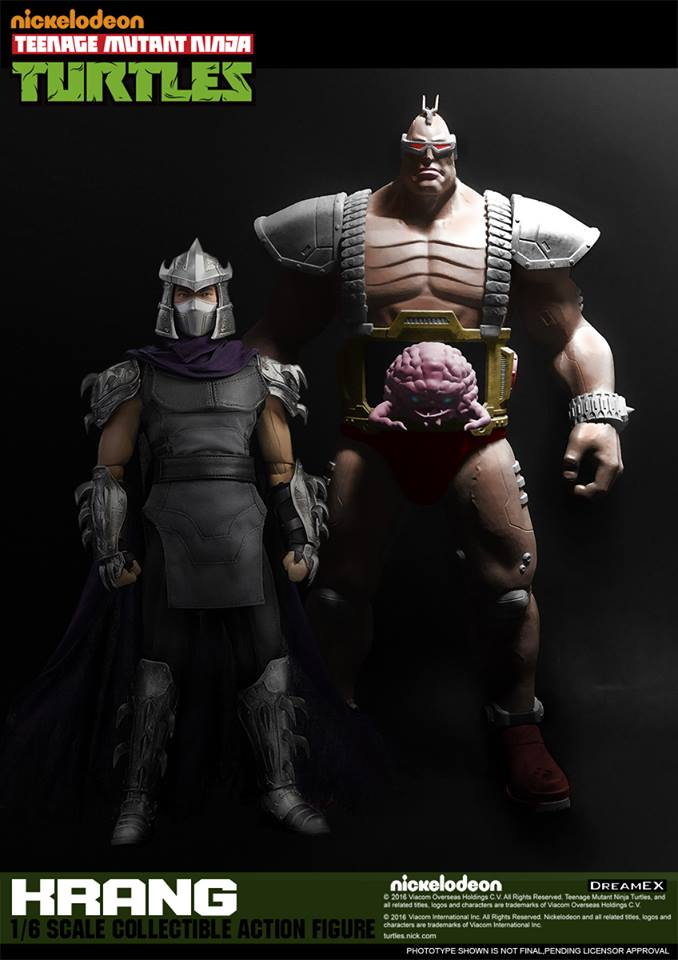 DreamEX Krang action figure, standing next to Shredder