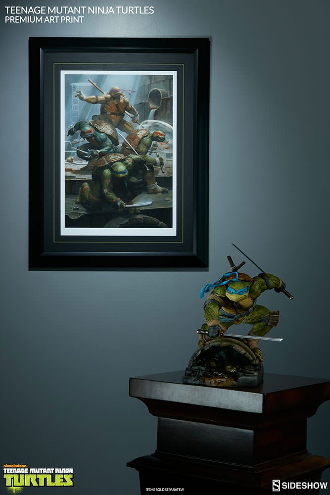 Sideshow Fine Art Print of the Teenage Mutant Ninja Turtles next to statue inspired by the art