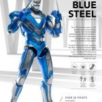 Comicave Studios Iron Man Blue Steel action figure, front view with gauntlet blades