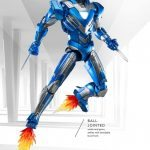 Comicave Studios Iron Man Blue Steel action figure, flying view