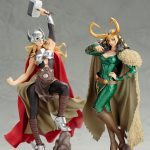 The Kotobukiya Lady Loki Bishoujo statue, with Lady Thor