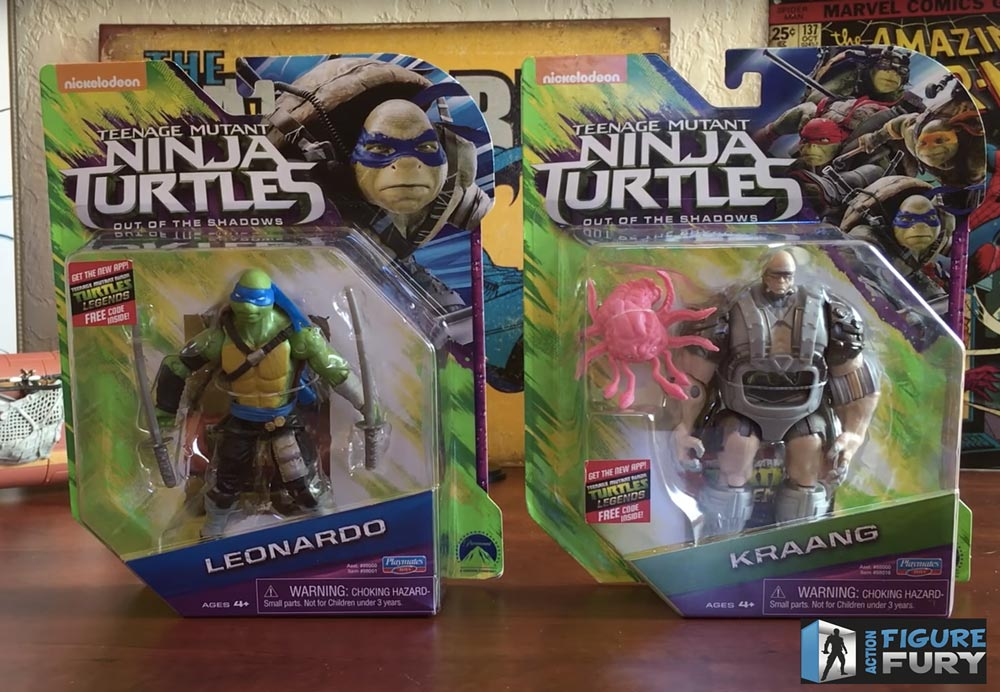 Playmates Toys TMNT Out of the Shadows Action Figures, Kraang and Leonardo packaging