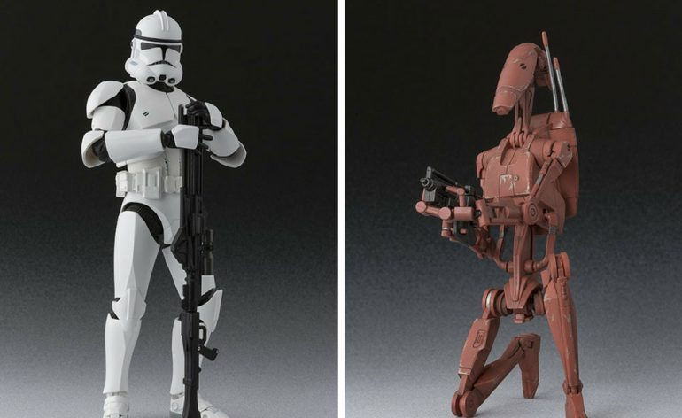 Star Wars S.H. Figuarts ROTS Clone Trooper and Geonosis Battle Droid action figures