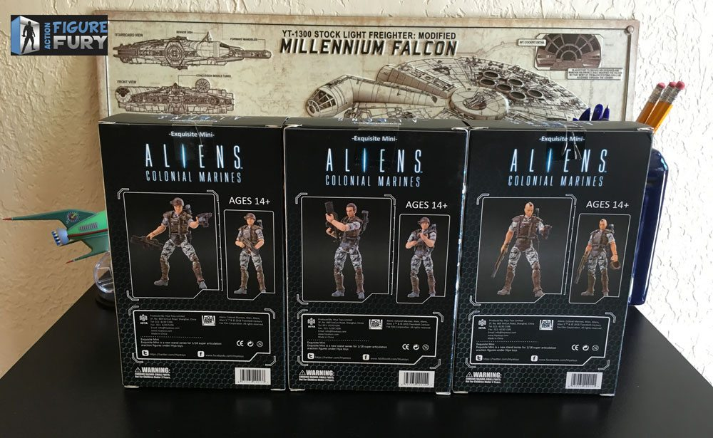 Hiya Toys Aliens Colonial Marines action figures, group back packaging