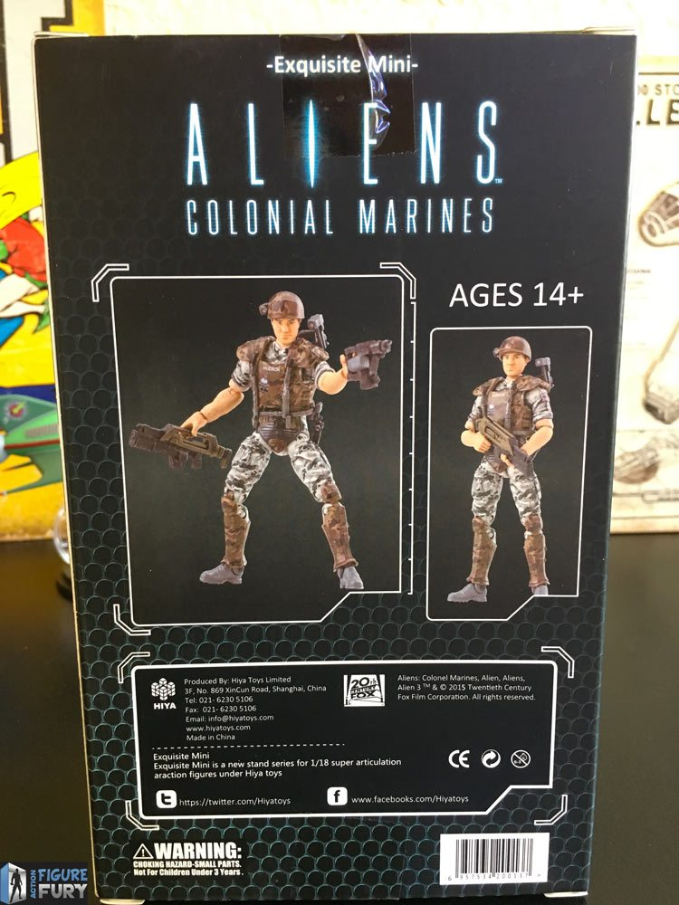 Hiya Toys Aliens Colonial Marines action figures, full back packaging