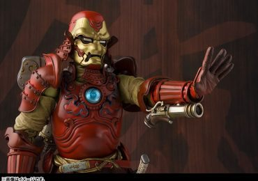 Tamashii Nations Manga Realization Steel Samurai Iron Man action figure, one repulsor raised