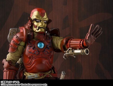 Tamashii Nations Manga Realization Steel Samurai Iron Man action figure, one repulsor raised