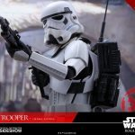 Hot Toys Sixth Scale Rogue One Jedha Patrol Stormtrooper action figure, posed with rifle