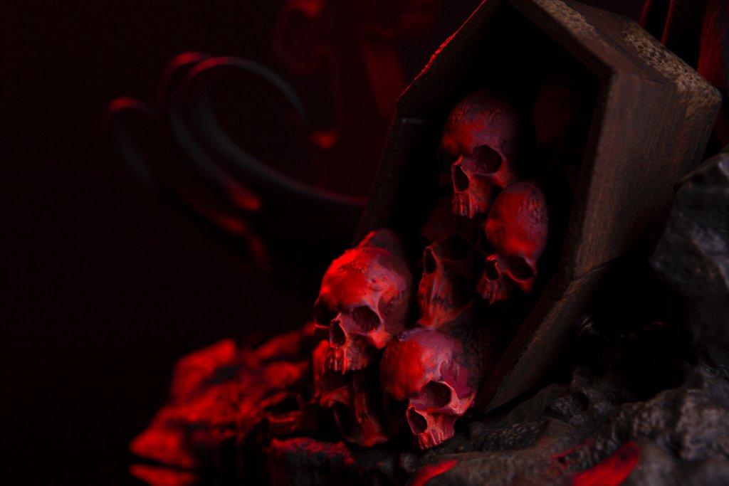Batman Red Rain Statue By Mondo Mondo-Batman-Red-Rain-Statue-skulls