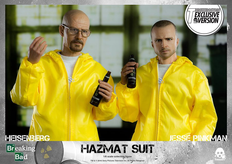 ThreeZero Breaking Bad Hazmat 2-Pack Walter White and Jesse Pinkman action figures, with beers