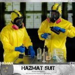 ThreeZero Breaking Bad Hazmat 2-Pack Walter White and Jesse Pinkman action figures, working with masks on