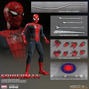 Mezco One:12 Collective Spider-Man action figure, accessories